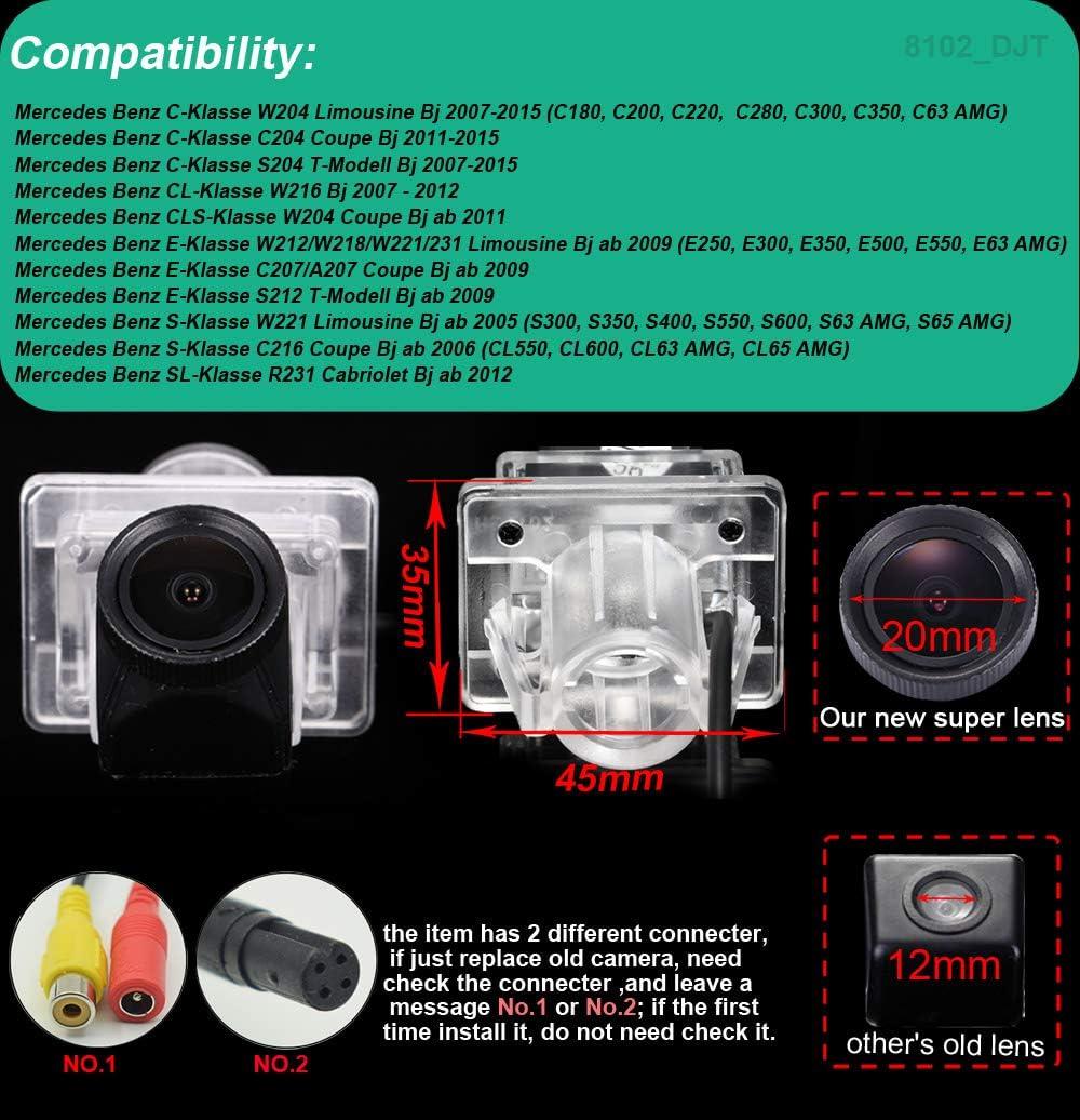 Dynavision Nuovo Lente da 20mm HD Color Impermeabile Visione notturna Luce targa posteriore Telecamera posteriore per Mercedes Benz C E CL S Klasse W204//W216//C204//W212//C207//S12//W221//R231