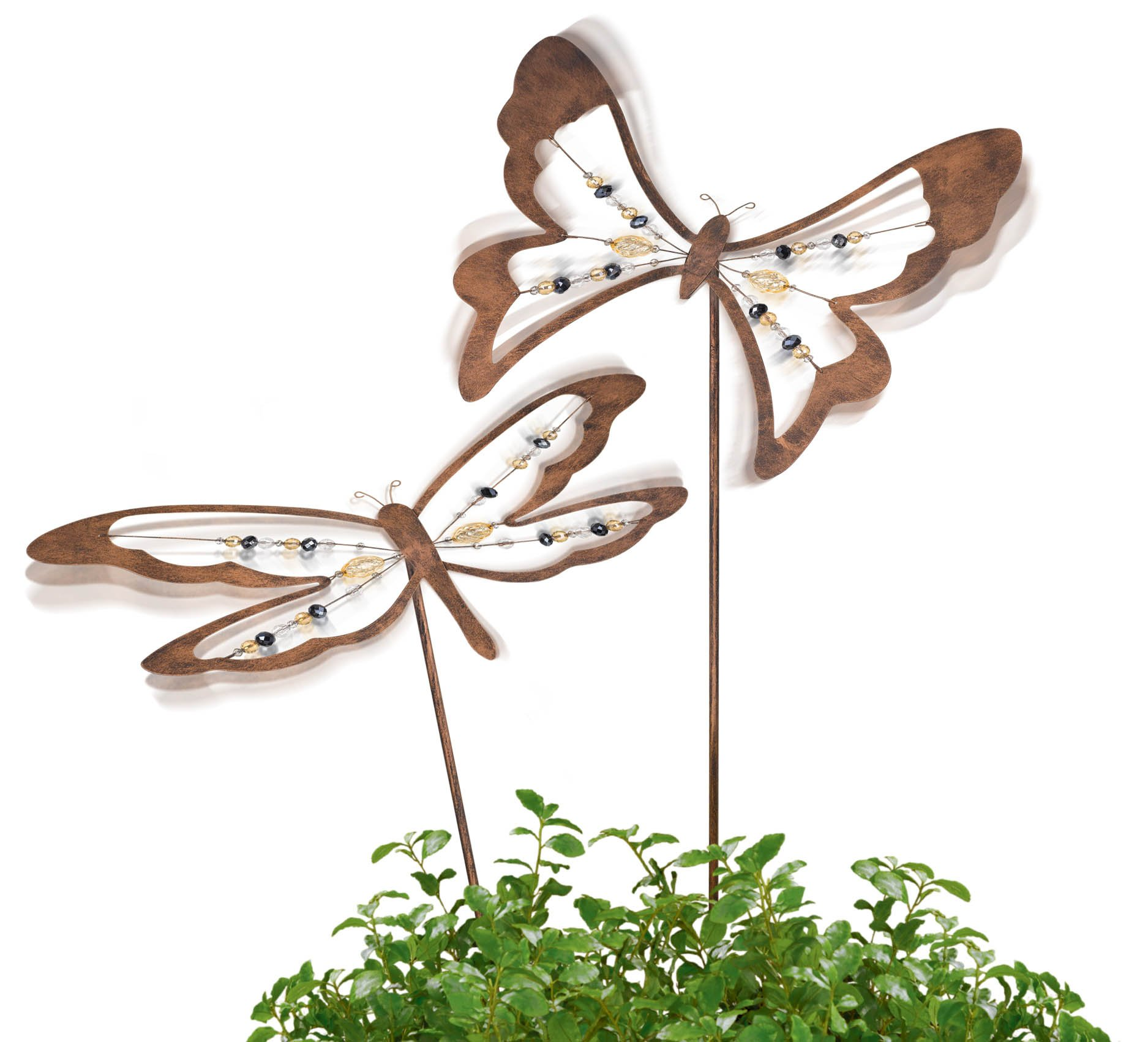 Grasslands Road Bobble Stake, 41-Inch, Butterfly and Dragonfly, Bronze, 4-Pack by Grasslands Road