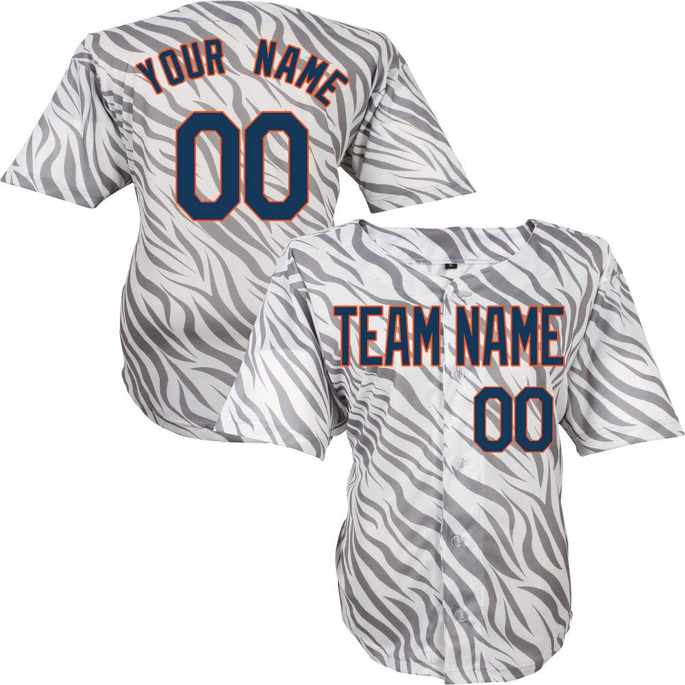Pullonsy Gray Zebra Pattern Custom Baseball Jersey for Men Women Youth Sewn Any Name /& Numbers S-8XL,Design Your Own Online