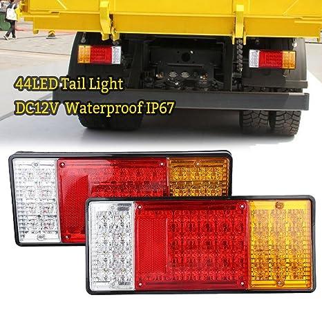 2 Pcs Piloto Trasero luz 44 LED Luz Trasera Bombilla Freno Trasera- Impermeable - para
