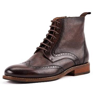 Shoe house Derby de los Hombres Oxford Botas Perforada ala Punta Vestido Casual Moda Botines Antideslizante