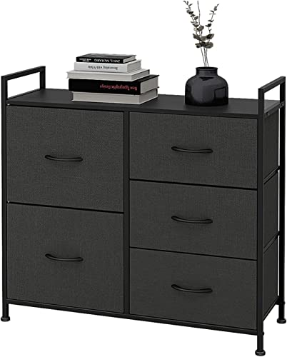 WLIVE Dresser with 5 Drawers, Fabric Storage Tower with Handrail, Organizer Unit for Bedroom, Hallway, Entryway, Closets, Sturdy Steel Frame, Wood Top, Easy Pull Handle
