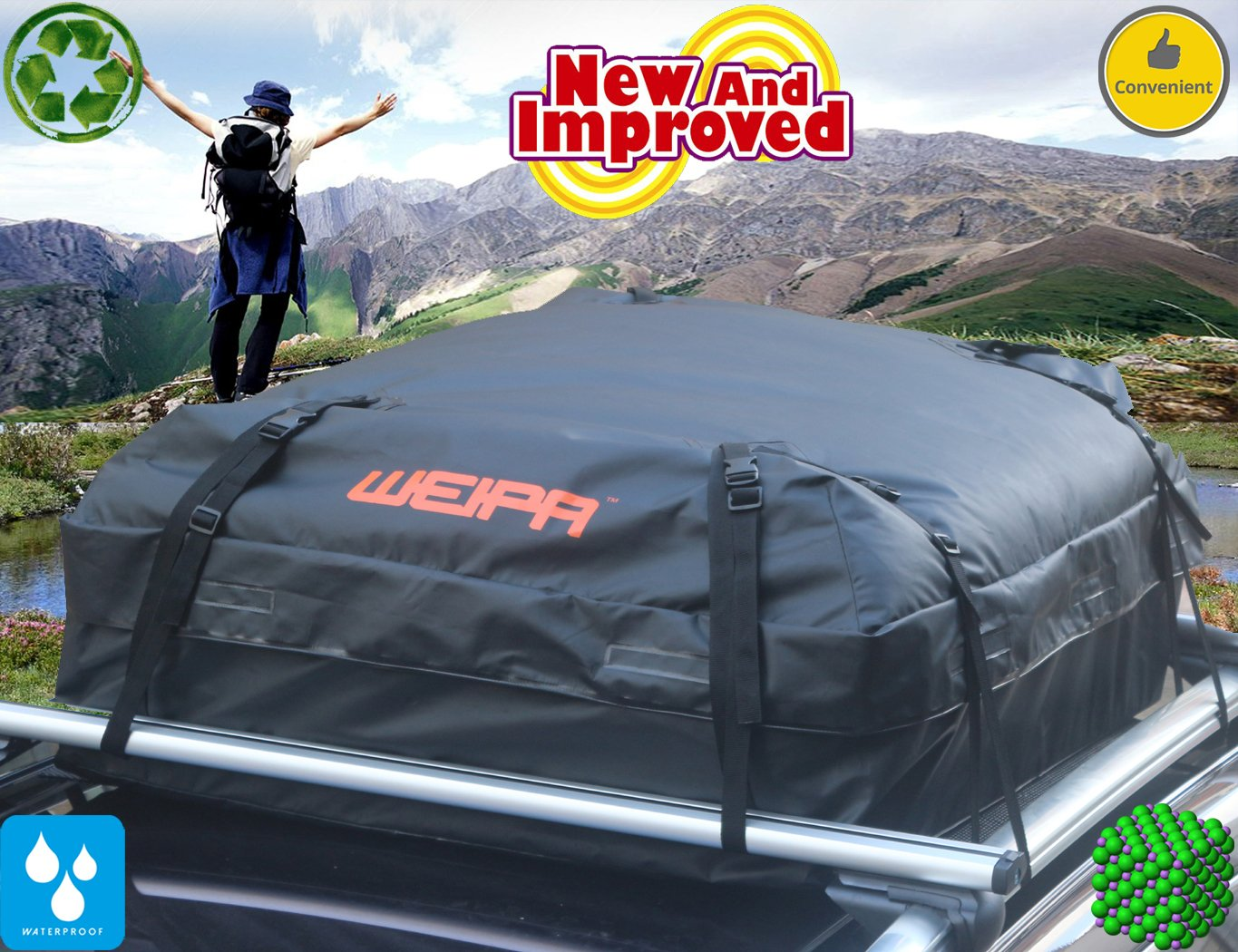 WEIPA® Waterproof Roof Top Cargo Bag- Non Slip Roof Mat & Storage bag, For Any Car Van or SUV (15 Cubic Feet)