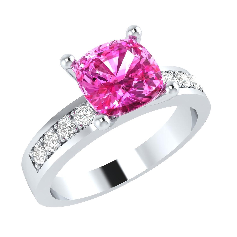 Amazon.com: Silvostyles 1.50 Ct Cushion Cut Pink Sapphire & Diamonds ...
