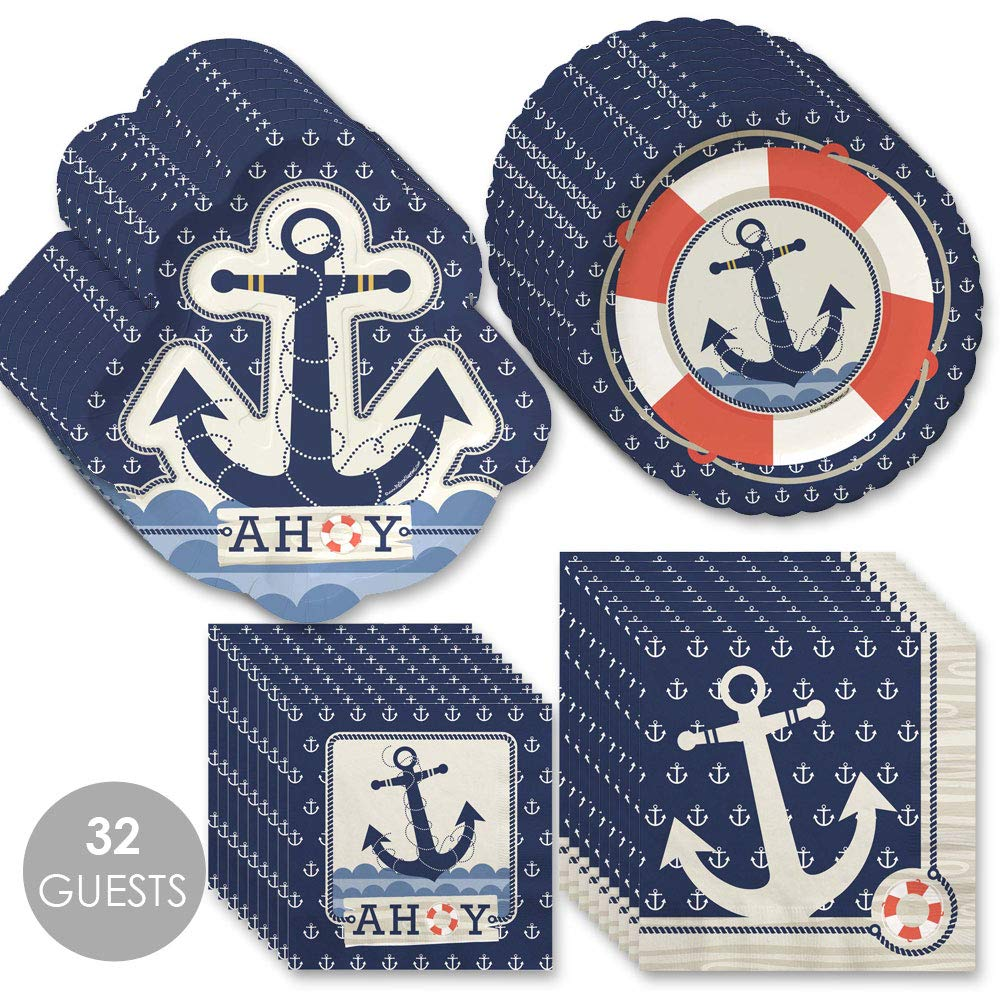 Big Dot of Happiness Ahoy Nautical - Party Tableware Plates, Napkins - Bundle for 32