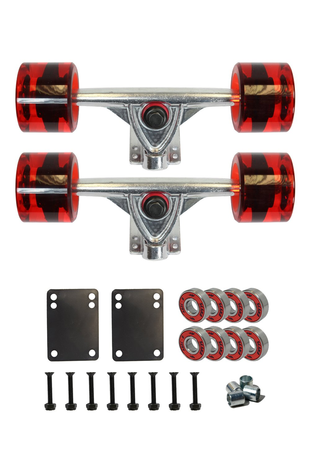 SCSK8 LONGBOARD Skateboard TRUCKS COMBO set w/ 70mm WHEELS + 9.75