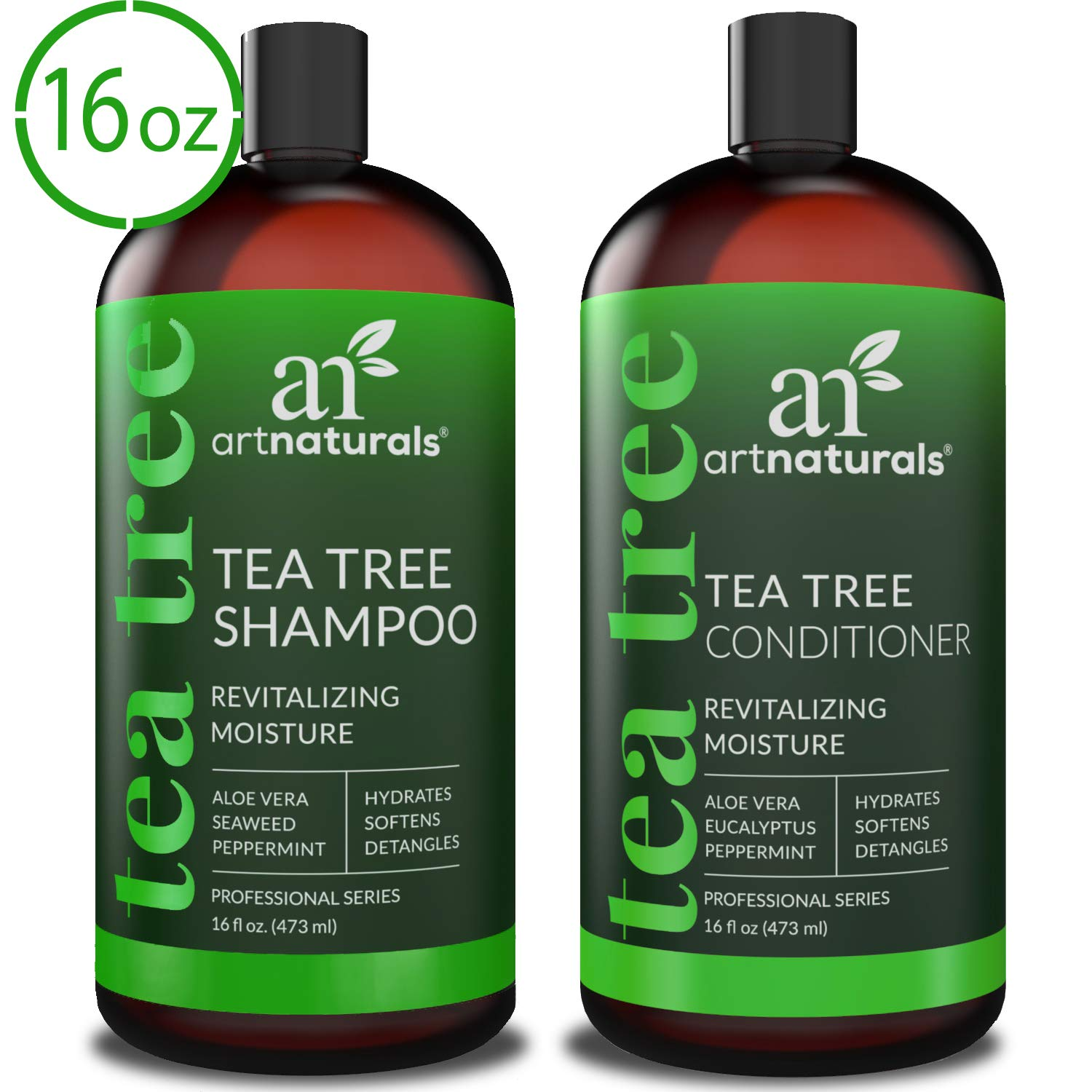 ArtNaturals Tea Tree Shampoo and Conditioner Set - (2 x 16 Fl Oz / 473ml) - Sulfate Free - Therapeutic Grade Tea Tree Essential Oil - Deep Cleansing for Dandruff, Lice, Dry Scalp and Itchy Hair by ArtNaturals