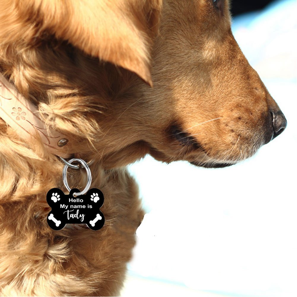 Pet ID Personalized Pet Tags for Dogs and Cats. Front & Backside Engraving Anodized Aluminum Bone Shape US Made