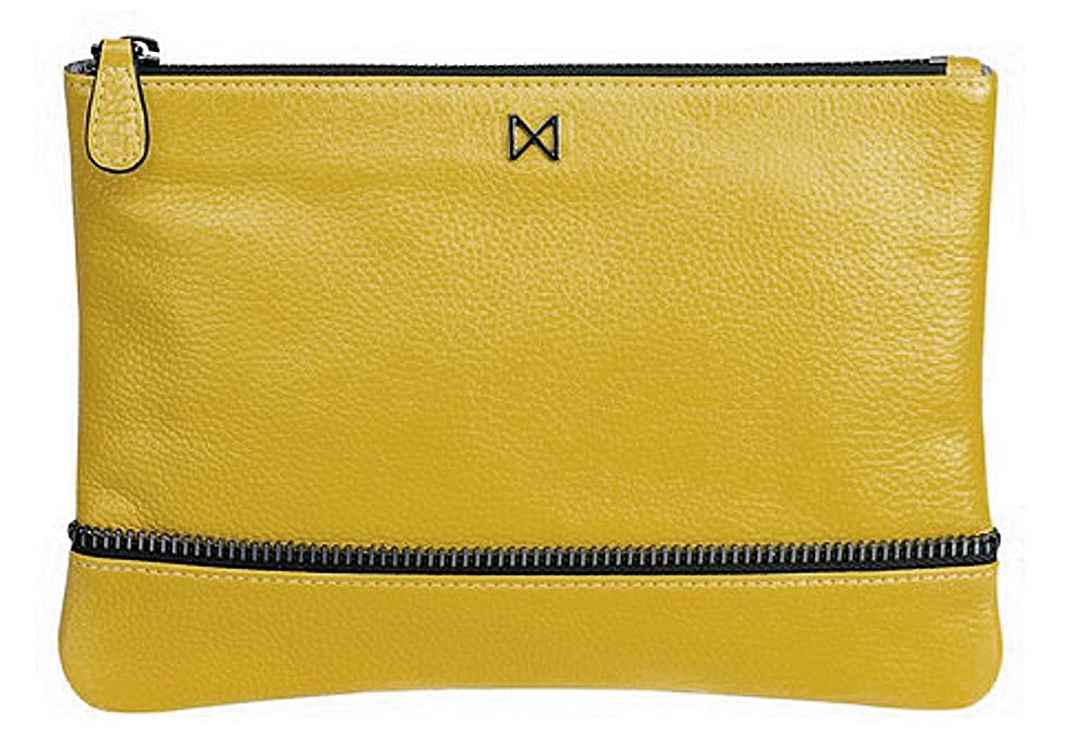 """Allegra"" Pouch-style Clutch, Soft Leather, Gunmetal Zipper & Zipper Accent, Saffron Yellow"
