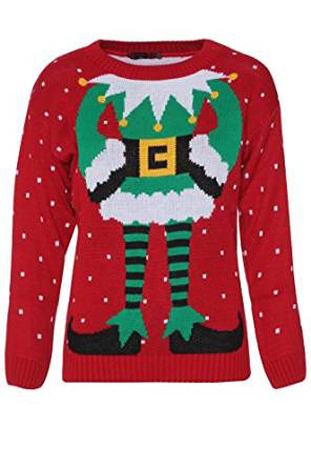 FashionMark Womens Celebrity Inspired Elf Body Print Knitted Christmas Jumper - 2 Colors - Size 6-12