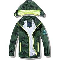 FORGOTEN CORNER Boys Hooded Outwear Rain Jacket Zippers Outdoor Windproof Waterproof Raincoat for Children Yellow 5T