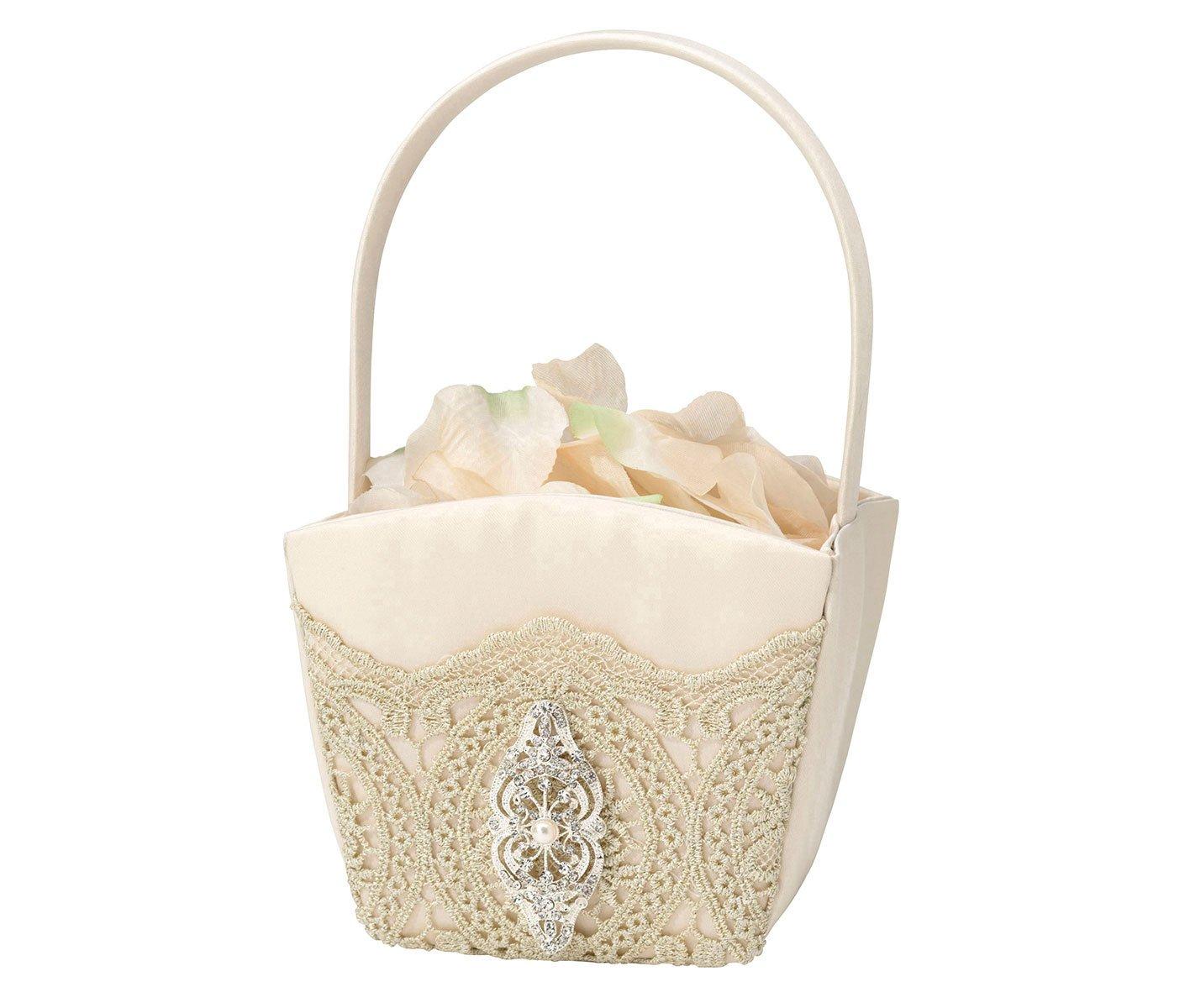 Lillian Rose Vintage Gold Lace Wedding Flower Girl Basket