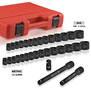 Neiko 02447A 1/2-Inch Drive Shallow Impact Socket Set with Extension Bars, 32-Piece | SAE (3/8 to 1-1/14) Metric (10-32 MM) (Tamaño: 1/2 Drive, Shallow, 32 Piece)