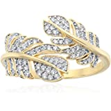 Yellow Gold-plated Silver White Zirconia Leaf bypass Anniversary Ring, Size 7