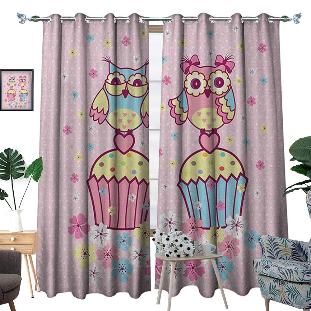 Warm Family Owls Blackout Window Curtain Two Owl Couples on Cupcakes Springtime Happiness Romantic Children Art Customized Curtains W72 x L108 Pale Pink Sky Blue Yellow by Warm Family