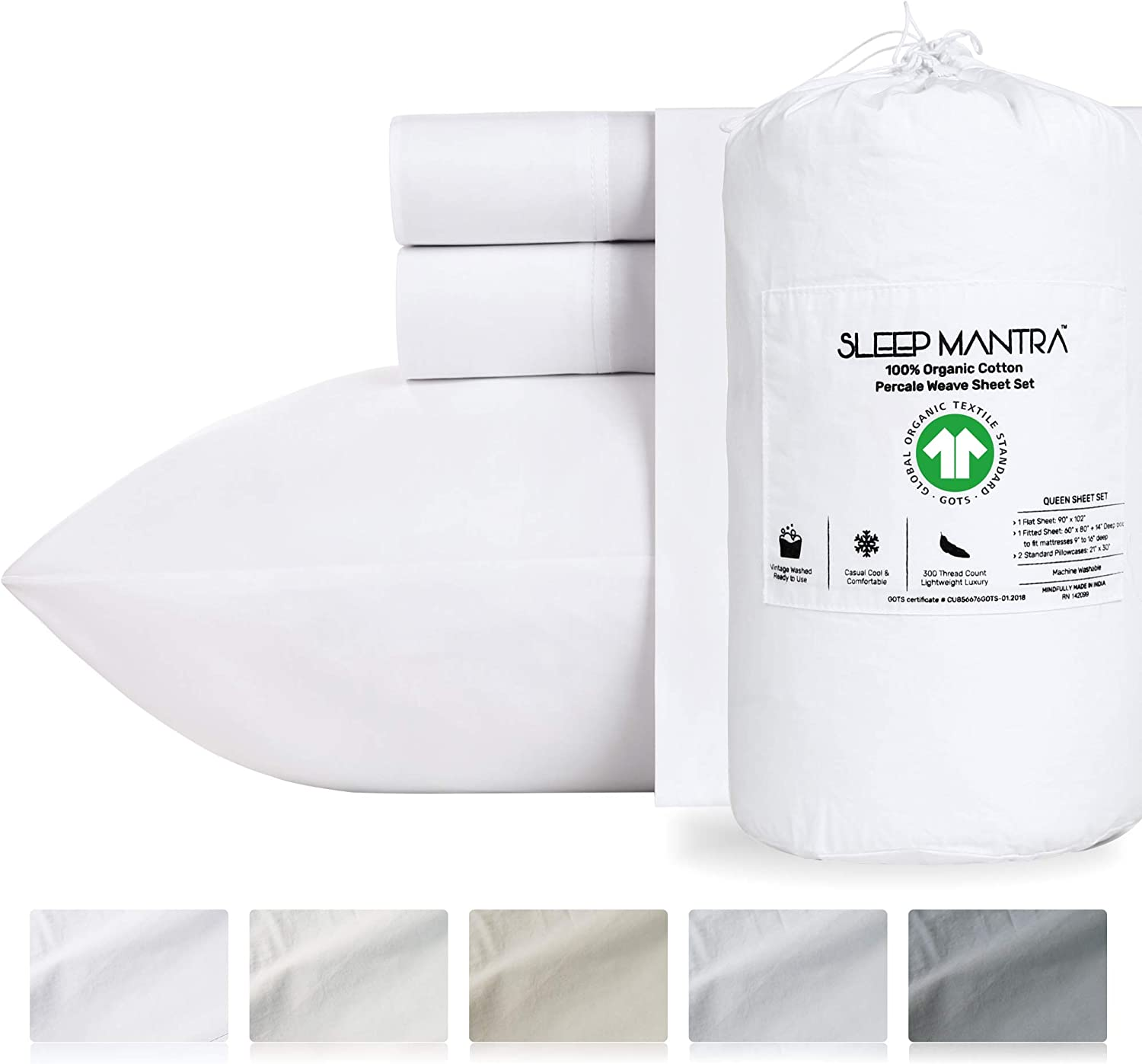 Twin-XL White Sheets Percale Weave - 100% Organic Cotton 3 Piece Vintage Washed Sheet Set, GOTS Certified Breathable Deep Pocket Bedding for 16 Inch Mattress