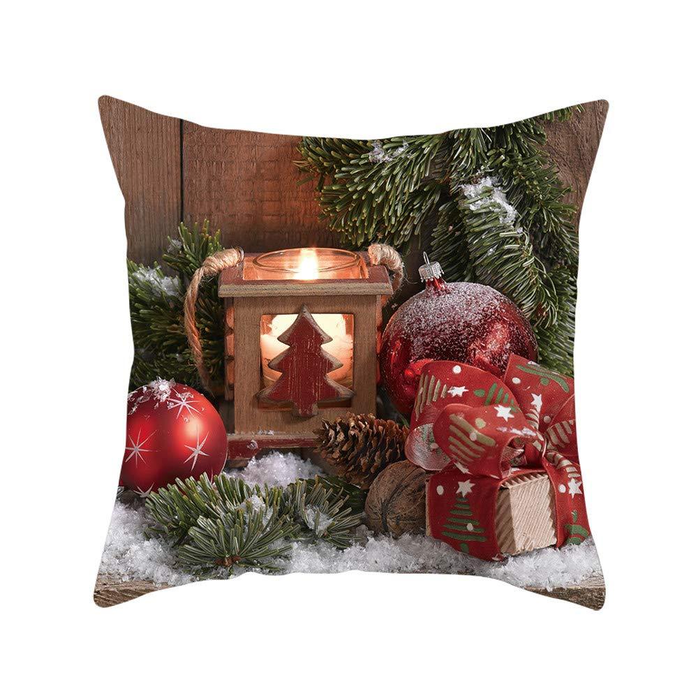 NUWFOR Merry Christmas Super Soft Square Throw Pillow Pillow Cover 45x45cm Home Decor(A)