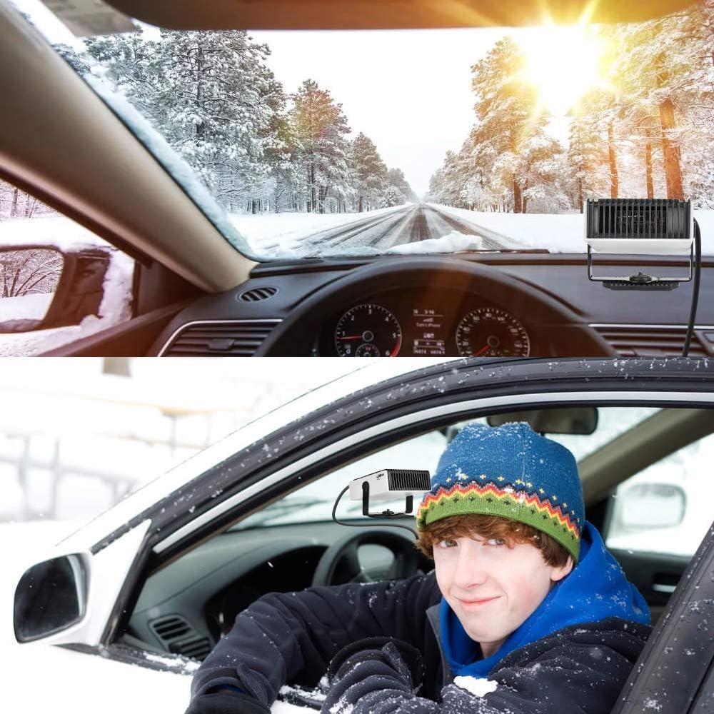180 Degree Whirling//Low Noise Luoistu Portable Car Heater 24V 2 In 1 24V Plug in Car Heater Windshield Defogger Heater /& Cooling Fan Black+White