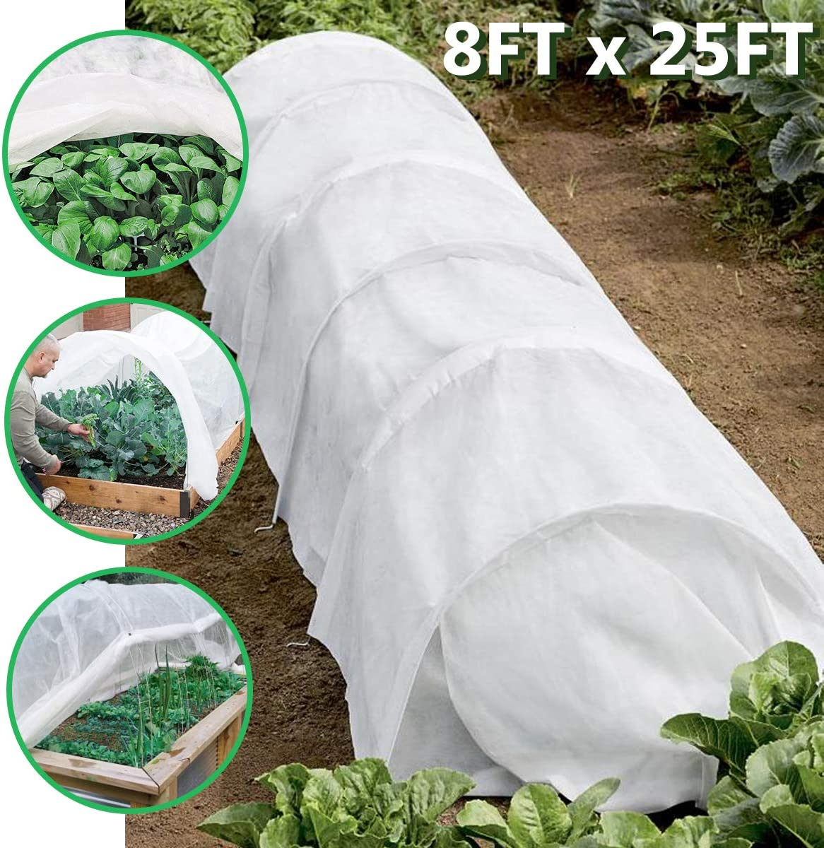 Floating Row Cover, 8FT x 25FT Large Plant Covers Freeze Protection Blankets for Plants, Fruits and Vegetables in Garden,Anti Severe Weather,Breathable,Light Permeable,1 Pack