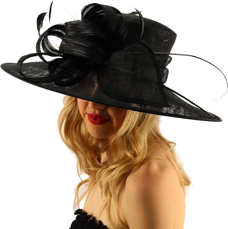 British Regal Sinamy Ribbon Feathers Quill Derby Floppy Bucket Dressy Hat