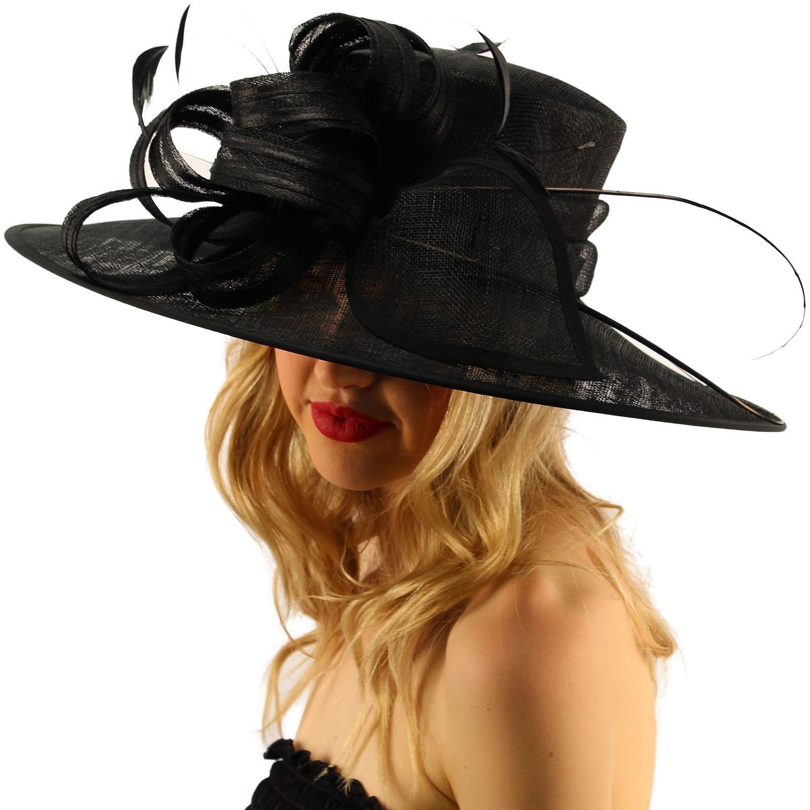 SK Hat shop British Regal Sinamy Ribbon Feathers Quill Derby Floppy Bucket Dressy Hat Black