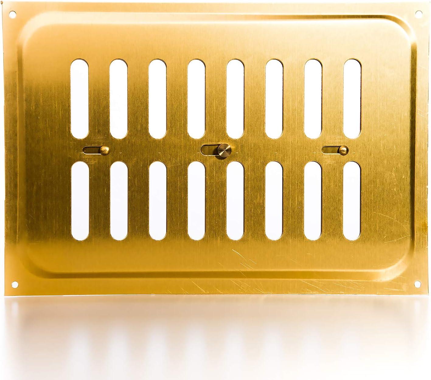 Maison Cuisine Gedotec Grille Aeration Rectangulaire 300x60mm Bureau 1 Pi/èce Bouche de Ventilation pour Mur Aluminium Inoxydable Laiton Anodis/é Dor/é Salon Porte de Salle de Bain Sauna
