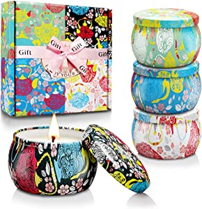 Scented Candles Relaxation Aromatherapy Candle Gift Set with Floral Tin Case for Women on Christmas, Birthday, Festivals, Wedding, Party in Bathrooms, Kitchen and Dining area Bedroom, Office (4 Pack)