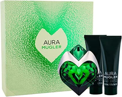 Giosal - Estuche para mujer Thierry Mugler Aura Perfume Eau de Parfum 30 ml + Body Lotion 50 ml + Gel Shower 50 ml: Amazon.es: Belleza