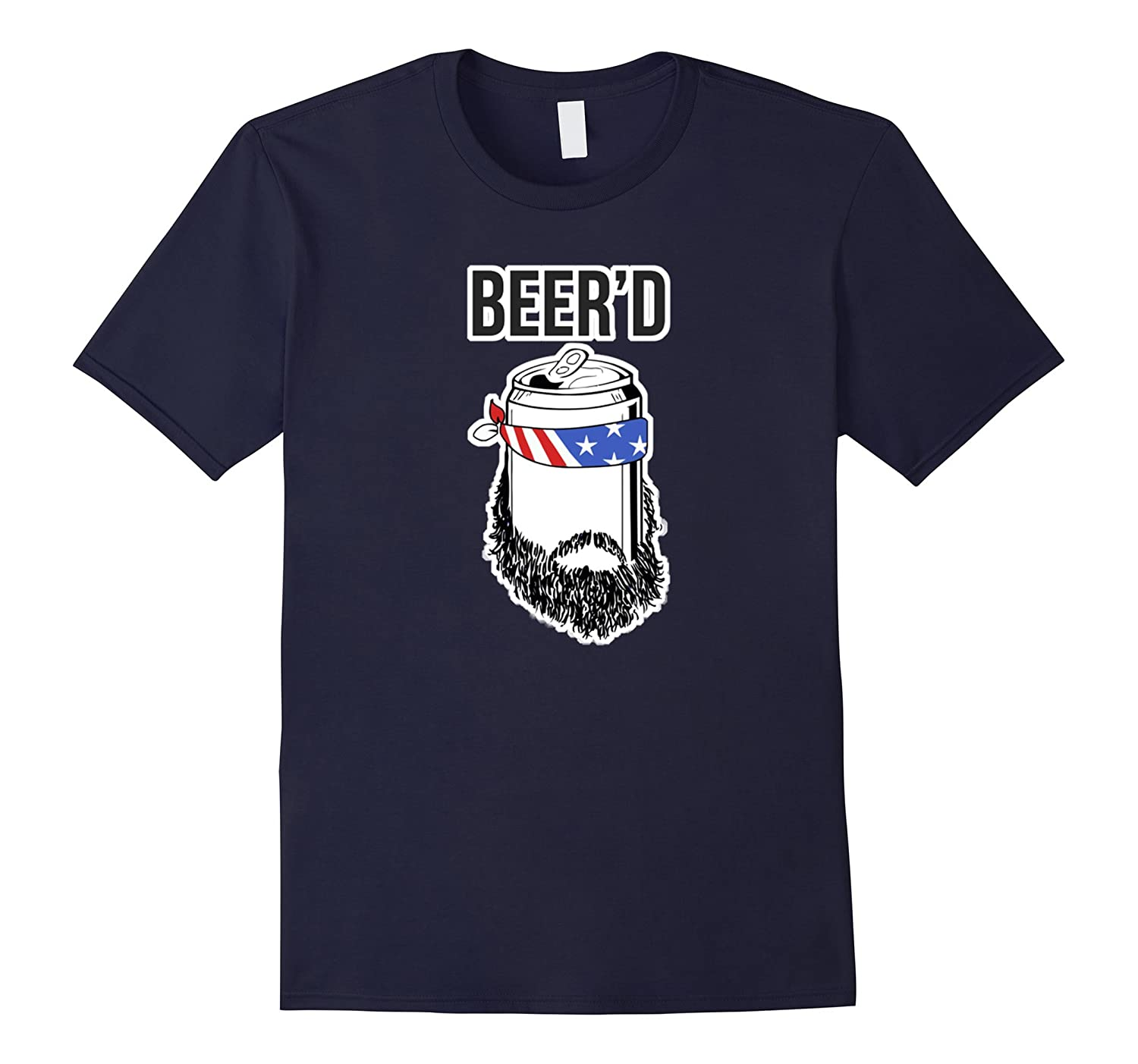 Beer'd Shirt Funny Beer Beard Guy American Flag Gift