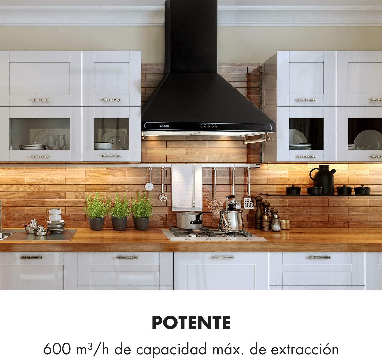 Klarstein Victoria Campana extractora - Extractor de humos, Extractor de pared, Diseño retro, 600 m³/h, Iluminación de la superficie de cocinado, 3 niveles, 2 barras para utensilias, Negro: Amazon.es: Hogar