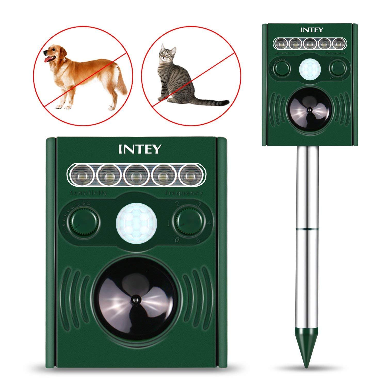 INTEY Cat Repellent Dog Repellent Outdoor Waterproof Sonic Animal Repeller Fox Mole Dog Cat (2018 Newly)