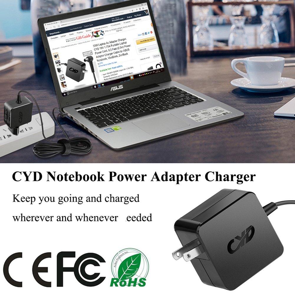 CYD 65W Laptop-Charger for Asus X401 X501 X550 X551 X751MA Q301 Q400 Q500A Q501 Q502LA D550CA D550M F502CA F551M F555LA K550CA K50I K60IJ K52F K53E K53U A54C A55A U57A Adapter Power-Cord