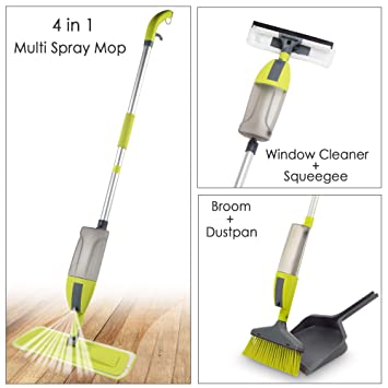 Smile Mom 4 in 1 Multi Spray Mop with Broom + Dustpan, Window Cleaner + Squeegee/Wiper with 360 Degree Easy Floor Cleaning for Home and Office, Best for Wet & Dry Use