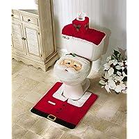 WJiXin Christmasmas Décoration Santa Ensemble de Toilette Couverture de siège Tapis Mouchoir Box Set Cadeau (A)