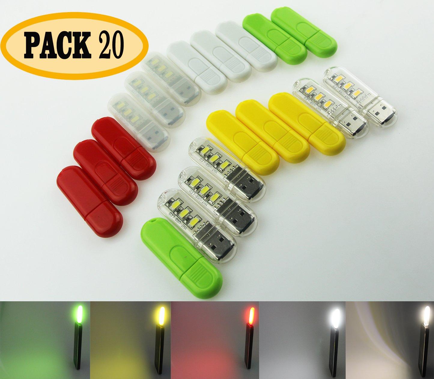 ECAREE ULF0200100 Hot USB Portable Lamp Set, USB Night Light, Little Creative USB Reading Lamp, LED for Laptop - Pack of 20, Colorful
