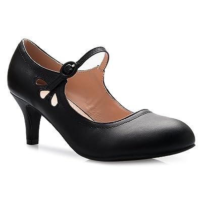 Olivia K Women's Kitten Low Heels Round Toe Mary Jane Pumps - Adorable Vintage Retro Shoes- Unique Side Cut Out Design | Pumps