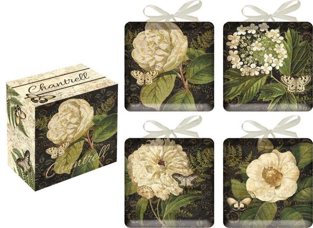 Chantrell Flower and Butterflyセラミック装飾ミニプレート4のセット   B018KM67LK