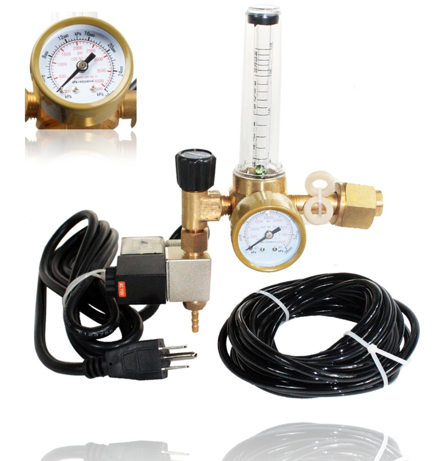 SPL Co2 Regulator Emitter System with Solenoid Valve Accurate and Easy to Adjust Flow Meter Made of High Quality Brass - Shorten up and Double Your Time for Harvesting!