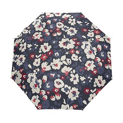 My Little Nest Vintage Flowers Umbrella Sun Rain Windproof Travel Umbrella with Auto Open Close Button
