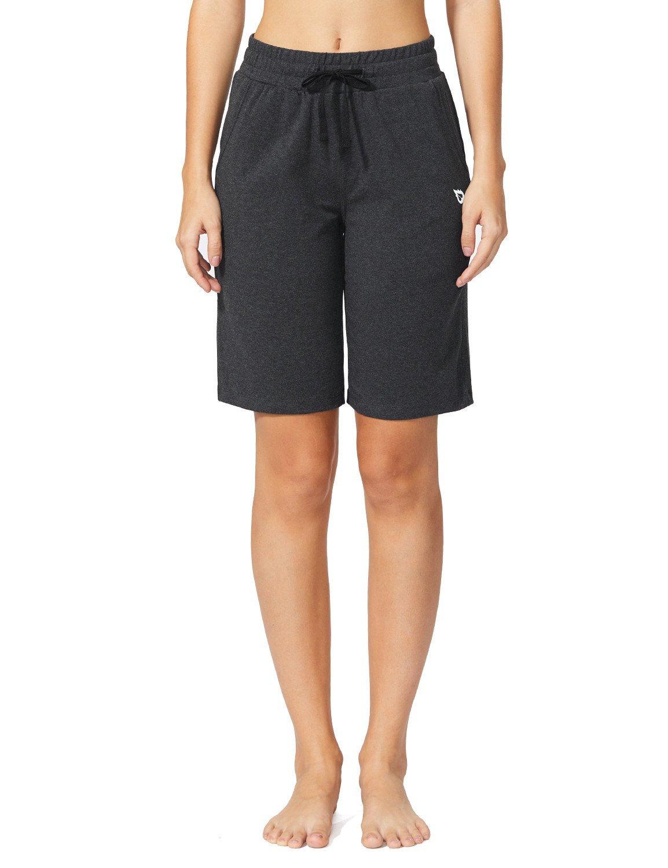 Baleaf Women's Active Yoga Lounge Bermuda Shorts with Pockets Charcoal Size L by Baleaf (Image #3)