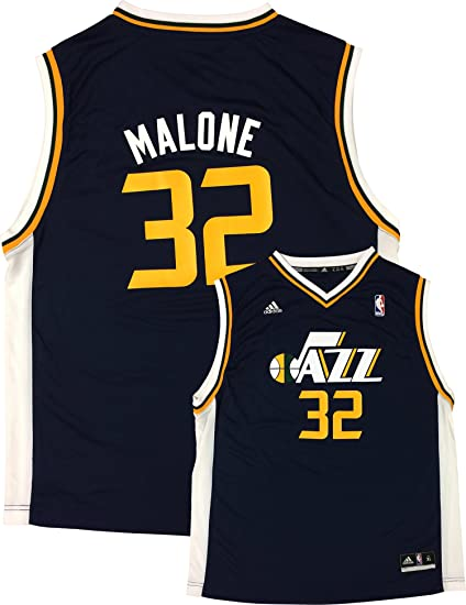 5685b0f9ad38b Amazon.com: adidas Karl Malone Utah Jazz #32 Navy Youth Away Replica ...