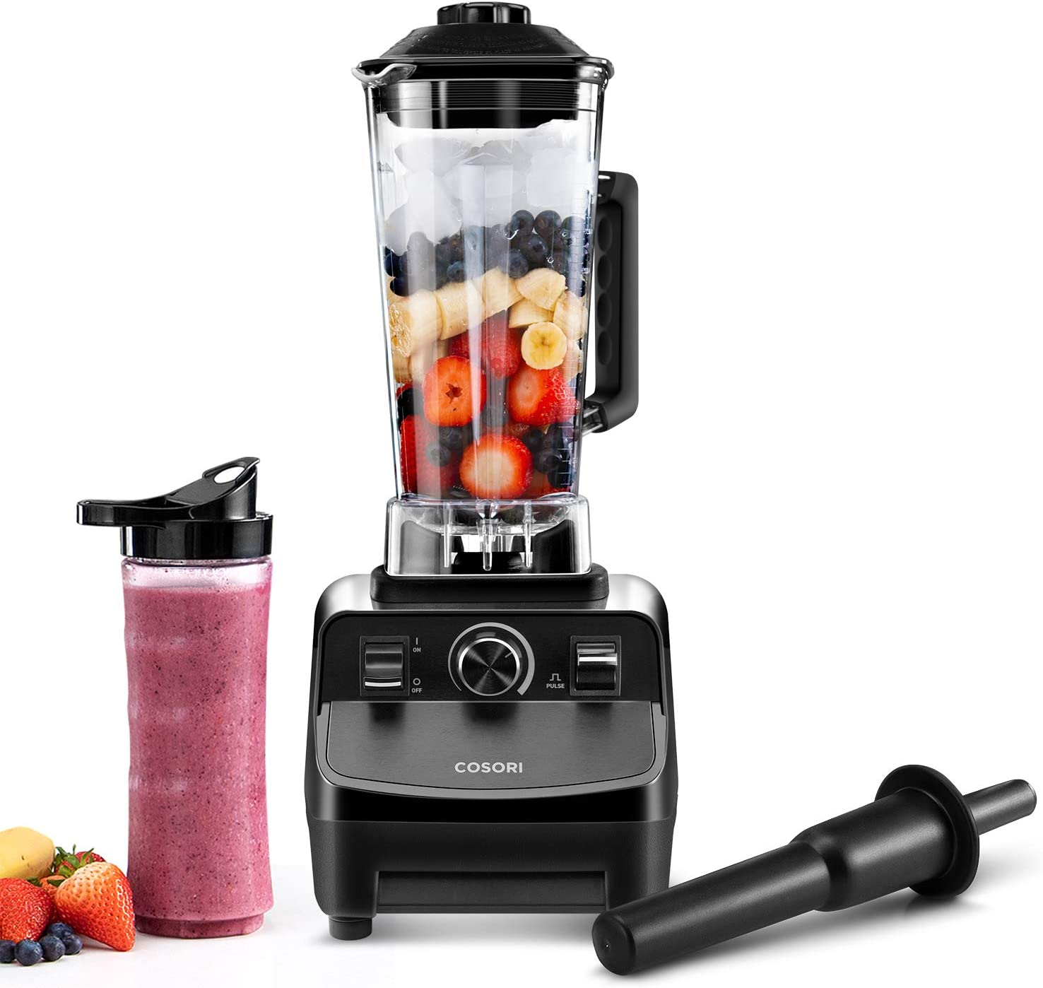 COSORI Blender for Shakes & Smoothies(50 Recipes), 1400W Heavy Duty Professional Blender For Crushing Ice, Frozen Fruit with 64oz Pitcher&20Oz Travel Bottle, ETL Listed/FDA Compliant