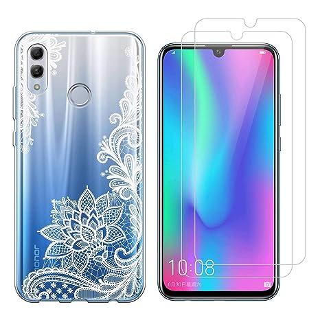 Funda Huawei P Smart 2019 Flor Blanca Suave TPU Silicona Protector Trasero Carcasa para Huawei Honor 10 Lite/P Smart 2019 (6,21 Pulgada) con Dos ...