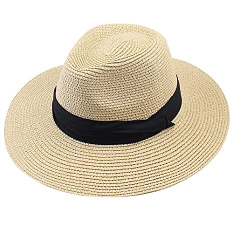 2d888a2d52cd4 Image Unavailable. Image not available for. Color  FURTALK Women Wide Brim  Straw Roll up Hat Fedora Beach Sun Hat UPF50+ ...