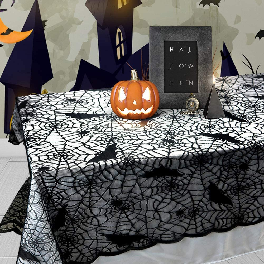 "Jaoul 60""x84"" Halloween Spider Web Black Lace Tablecloth for Rectangular Table, Tablecover for Parties Scary Movie Nights Themed Bars Decoration"