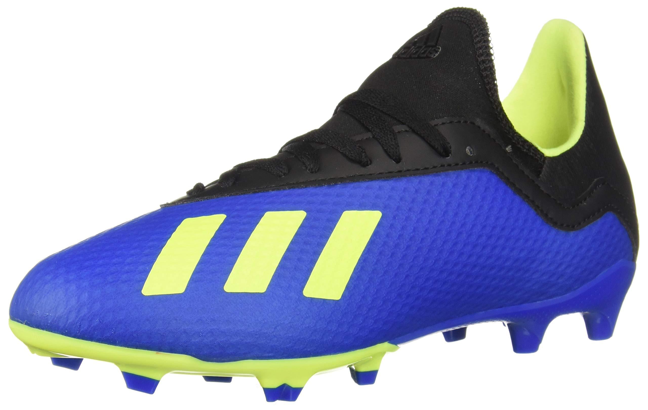 adidas Unisex X 18.3 FG J Soccer Shoe, Football Blue/Solar Yellow/core Black, 2 M US Big Kid