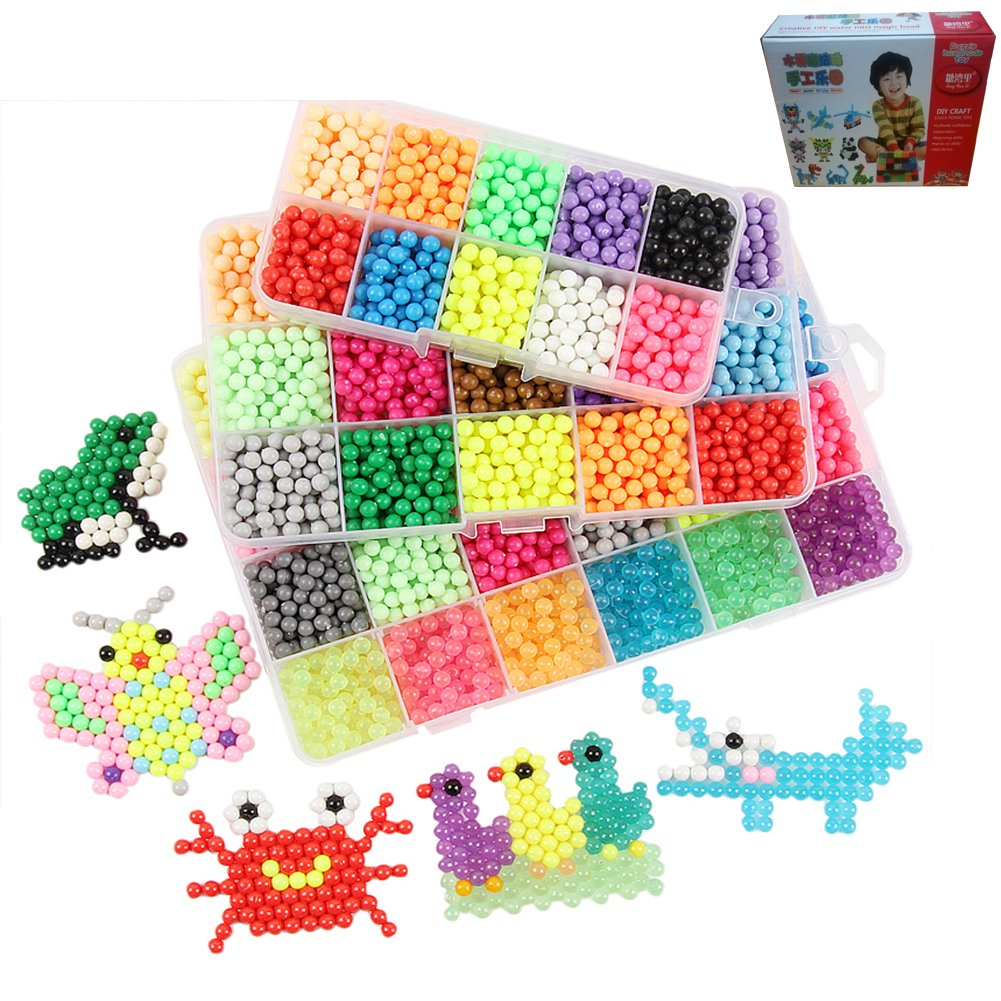 HKKE Fuse Beads Educational Toys For Kids - 15 Colour Water Sticky Beads with Whole Set of Accessories, Colorful Magic Beading 0.18-0.2 Inch (2200pcs), Creative Hand-eye Coordination Learning Toys