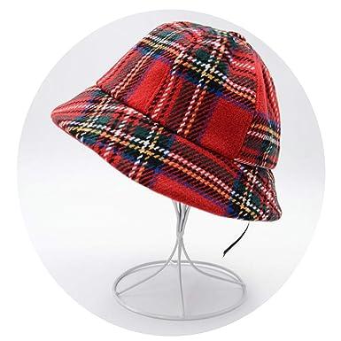 Chibi-Store Bucket Hat Women s Winter Hat Female Plaid Pattern Vintage  Fisherman Hat Wool Knitted Cap 4eddcb99d67d