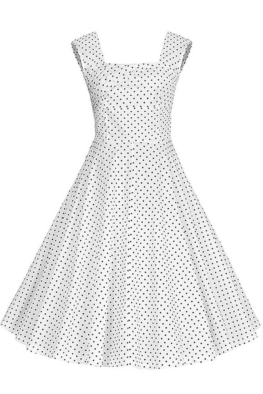 Babyonline Damen Ärmellos Swing Pinup Retro Rockabilly 50er 66er Jahre Vintage Rock Sommer Petticoat Faltenrock Ballkleider Abendkleider