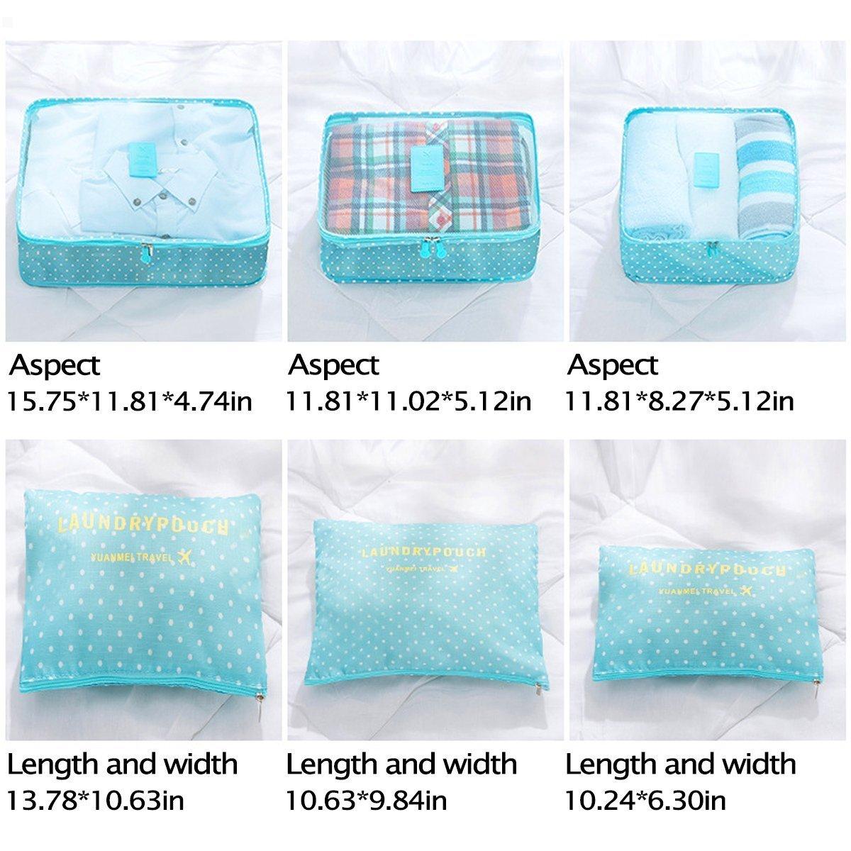 Switty de stockage Voyage Sacs V/êtements demballage Valise de voyage Bagages Organisateur Bleu Cube Sacs Pochette